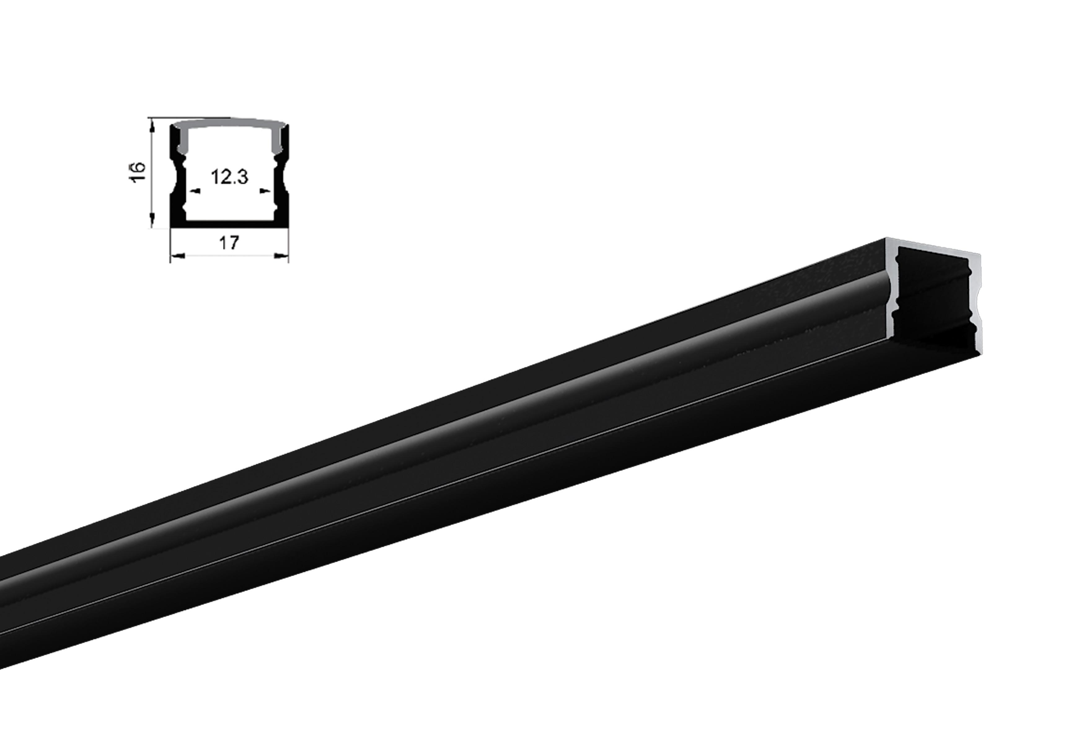 LED Profil  mit Abdeckung aus Kunststoff schwarz