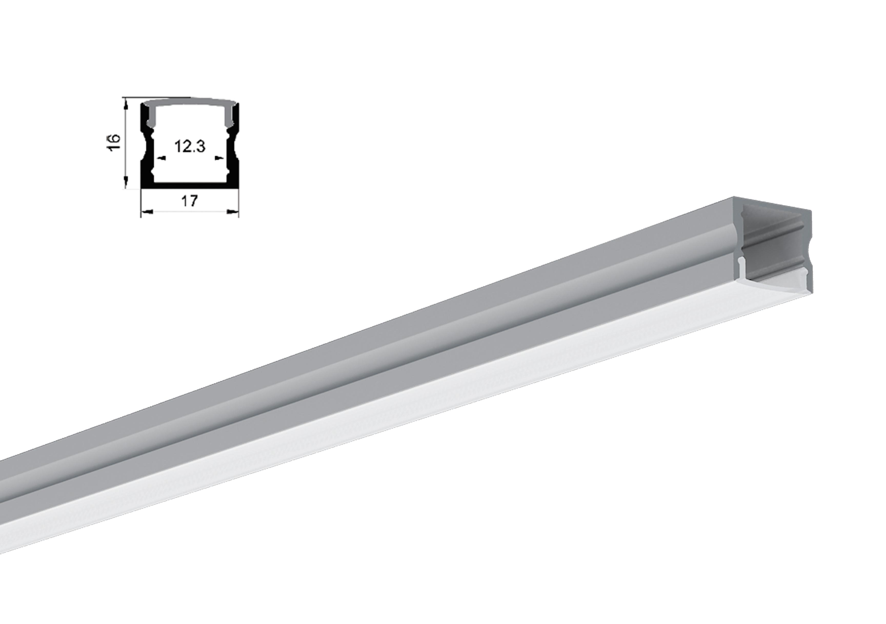 LED Profil  mit Abdeckung aus Kunststoff weiß